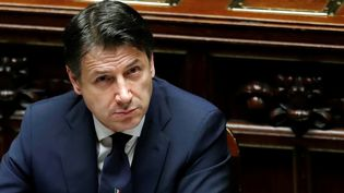 Le président du conseil, Giuseppe Conte, le 21 avril 2020 lors d'une séance au parlement italien. (REMO CASILLI / X02874)