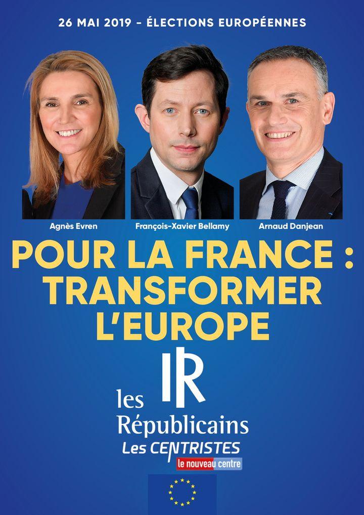 L'affiche de la listedes Républicains pour les européennes 2019. (FRANCEINFO)