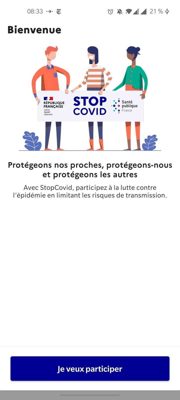 Visuel de l'application StopCovid (CAPTURE D'ÉCRAN)