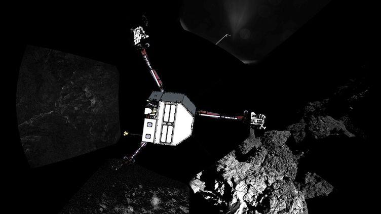 Le robot Philae, photographié le 13 novembre 2014 sur la comète Tchouri. (ESA / AFP)