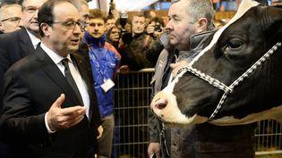 François Hollande discute avec un éleveur présent au Salon de l'agriculture, le 21 février 2015 à Paris. (STEPHANE DE SAKUTIN / AFP)