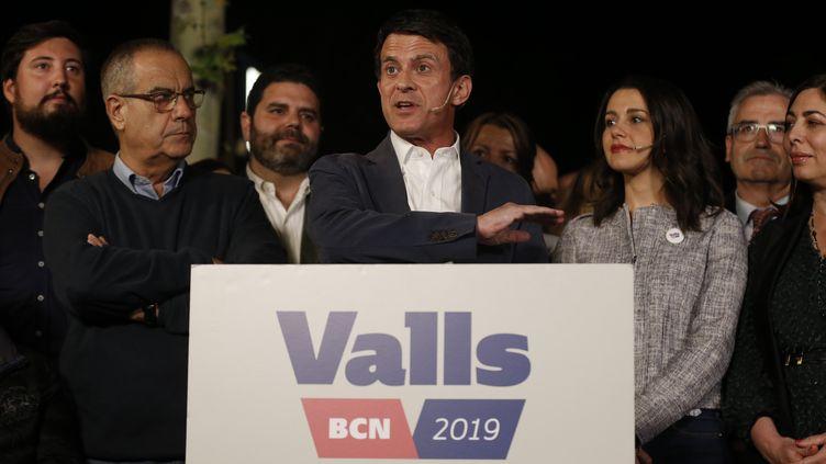 Manuel Valls s'exprime lors du lancement de sa campagne électorale pour la mairie de Barcelone, le 9 mai 2019, à Barcelone (Espagne). (PAU BARRENA / AFP)