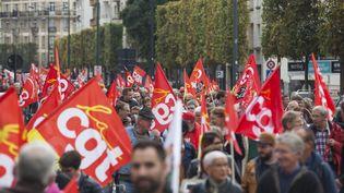 Manifestation des fonctionnaires à Rennes (Ile-et-Vilaine), le 10 octobre 2017. (MAXPPP)