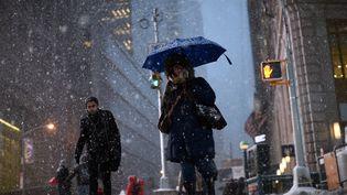 La neige tombe sur Times Square, à New York (Etats-Unis), lundi 26 janvier 2015. (JEWEL SAMAD / AFP)