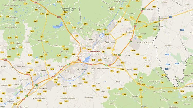 Capture d'écran de Google Maps pointant sur Valenciennes (Nord), où un bébé s'est noyé dans une piscine gonflable avant de reprendre connaissance à la morgue. (CAPTURE GOOGLE MAPS / FRANCETV INFO)
