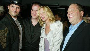 """Robert Rodriguez, Quentin Tarantino, Uma Thurman et Harvey Weinstein à la party de """"Kill Bill Vol. 2)  (KEVIN WINTER / GETTY IMAGES NORTH AMERICA / AFP)"""