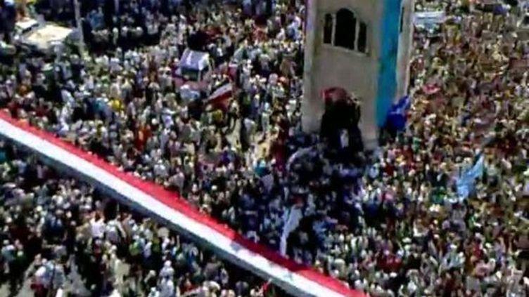 Photo, prise par un anonyme, de la manifestation de Hama, le 1er juillet 2011, à Hama (AFP - YouTube)