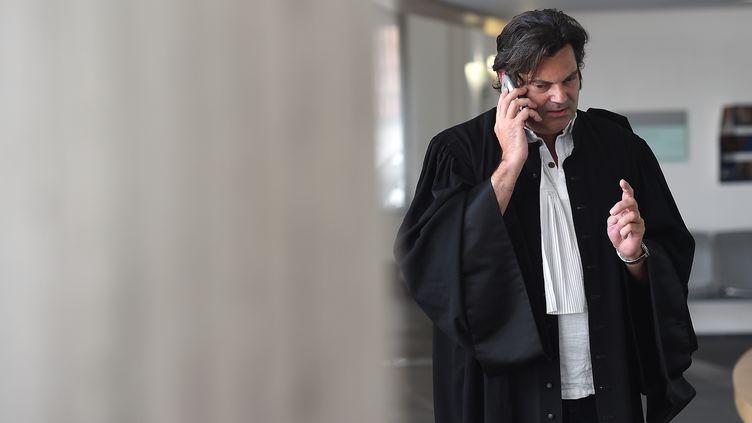 Randall Schwerdorffer, l'avocat de Jonathann Daval, le 4 juillet 2018, au tribunal de Besançon (Doubs). (SEBASTIEN BOZON / AFP)