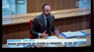 Le Premier ministre Edouard Philippe répond aux questions des députés dela mission d'information sur le coronavirus, le 1er avril 2020, à l'Assemblée nationale. (THOMAS SAMSON / AFP)