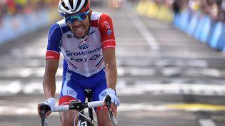Thibaut Pinot à l'arrivée de la 8e étape du Tour de France, à Saint-Etienne (Loire), le 13 juillet 2019. (MARCO BERTORELLO / AFP)