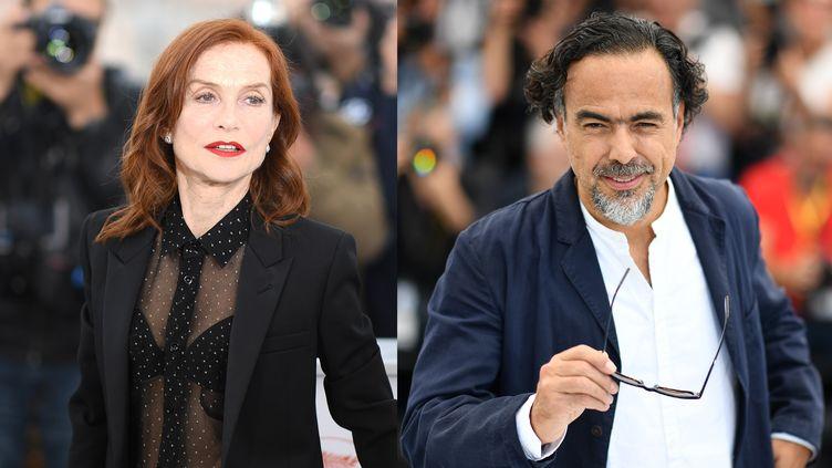 Isabelle Huppert et Alejandro Gonzalez Iñarritu lors du Festival de Cannes en mai 2019. (LOIC VENANCE/AFP / ALBERTO PIZZOLI/AFP)