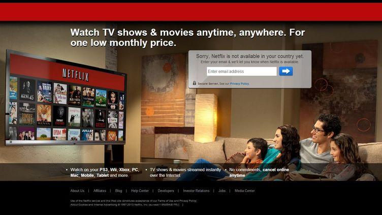 """Capture d'écran du site internet de Netflix avec la mention """"Désolé, Netflix n'est pas encore disponible dans votre pays"""". (NETFLIX)"""