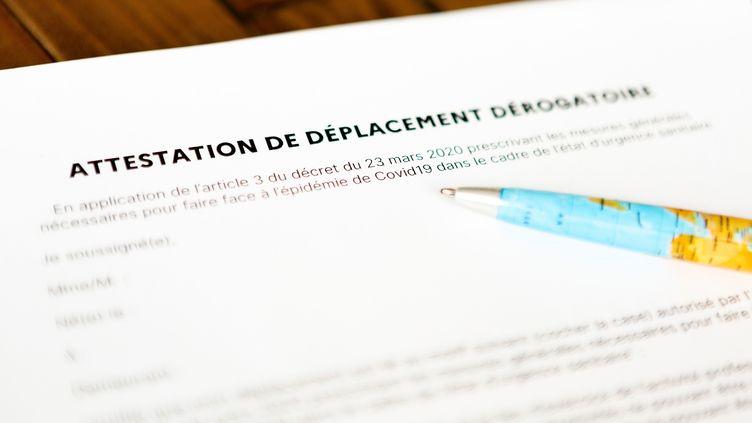 La nouvelle attestation de déplacement dérogatoire mise en ligne par le ministère de l'Intérieur, le 23 mars 2020. (YANN LEVY / HANS LUCAS / AFP)