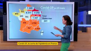 La carte du nombre de cas de Covid-19 en France au 23 mars (FRANCEINFO)