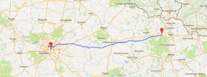 Un habitant de Meurthe-et-Moselle veut parcourir 300 kilomètres à véloentre Jarny et Paris, pour réclamer l'éloignement d'un voisin condamné pour avoir agressé sexuellement sa fille. (GOOGLE MAPS)