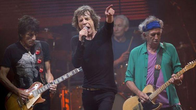Les Rolling Stones le 29 juin 2013 sur scène à Glastonbury (Ron Wood, Mick Jagger, Charlie Watts et Keith Richards).