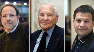 Marc Levy le 23 mars 2013 à Paris / Jean d'Ormesson le 3 mars 2015 à Paris / Guillaume Musso le 8 mars 2011 à Paris  (Éric Feferberg / Thomas Samson / Loïc Venance / AFP)