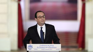 François Hollande lors de la conférence de presse organisée à l'Elysée jeudi 5 février 2015. (ALAIN JOCARD / AFP)