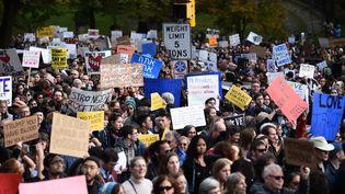 Des manifestantsprotestent contrela venue de Donald Trump à Pittsburgh (est desEtats-Unis), le 30 octobre 2018. (BRENDAN SMIALOWSKI / AFP)