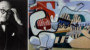 """A gauche, Le Corbusier par Gisèle Freund, Paris, 1961 - A droite, Le Corbusier, """"Trois musiciennes""""  (A gauche © Centre Pompidou, Guy Carrad - à droite © FLC, ADAGP, Paris 2015)"""