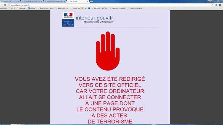 La page d'accueil de islamic-news, bloquée par le ministère de l'Intérieur, le 16 mars 2015.