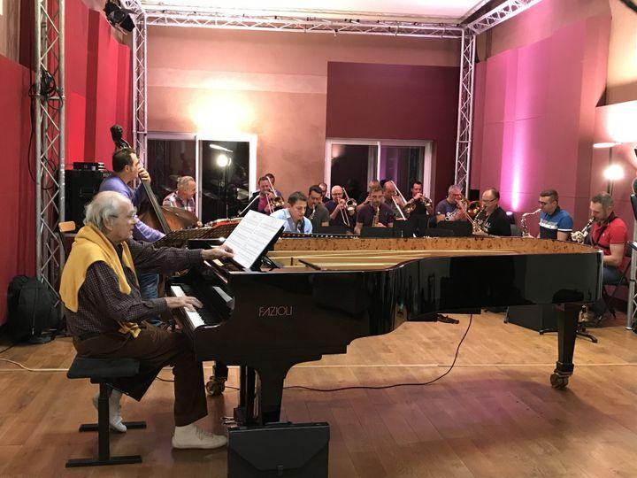 Michel Legrand en répétition pour son concert au Grand Rex en octobre 2017, peu avant de nous avoir accordé une interview.  (Michel Vial)