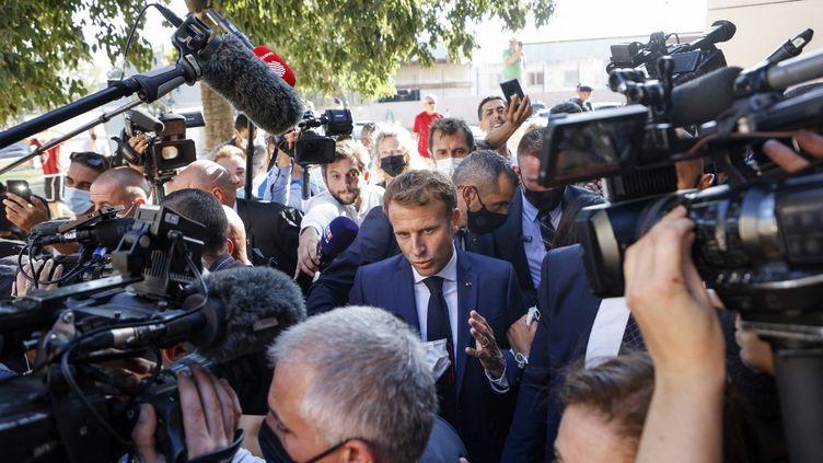 Le président Emmanuel Macron à Marseille, le 1er septembre 2021. (LUDOVIC MARIN / AFP)