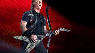 James Hetfield, le chanteu et guitariste du groupe de metal américain Metallica, le 23 août 2019 au stade olympique de Munich (Allemagne). (SVEN HOPPE / DPA / AFP)