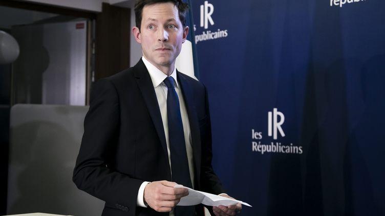 La tête de liste des Républicains aux européennes, François-Xavier Bellamy, lors de l'annonce des résultats, le 26 mai 2018, à Paris. (MAXPPP)