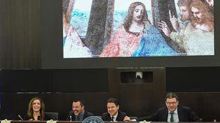 Le ministre de l'Intérieur italien, Matteo Salvini, lors d'une conférence de presse sur le500e anniversaire de la mort de Léonard de Vinci, à Rome, le 13 mars 2019. (ALESSANDRO DI MEO / EPA / MAXPPP)