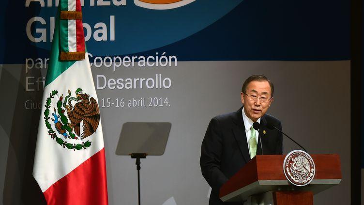 Le secrétaire général de l'ONU Ban Ki-Moon, le 15 avril 2014 à Mexico (Mexique). (RONALDO SCHEMIDT / AFP)