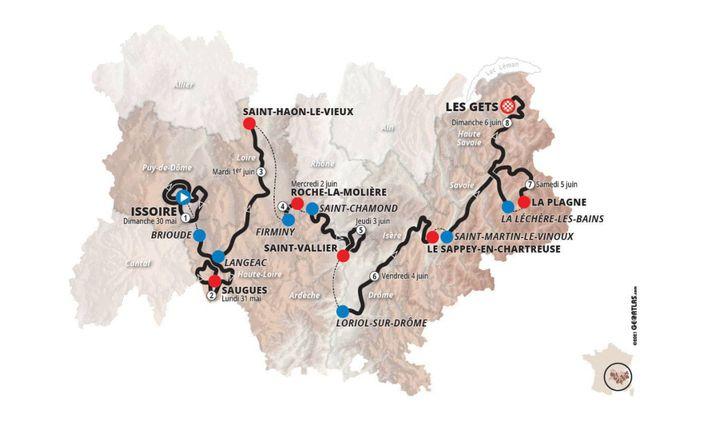 Carte du Critérium du Dauphiné 2021 (Critérium du Dauphiné 2021)