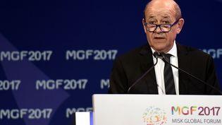 Le ministre des Affaires étrangères, Jean-Yves Le Drian, à Riyad, la capitale saoudienne, le 16 novembre 2017. (FAYEZ NURELDINE / AFP)