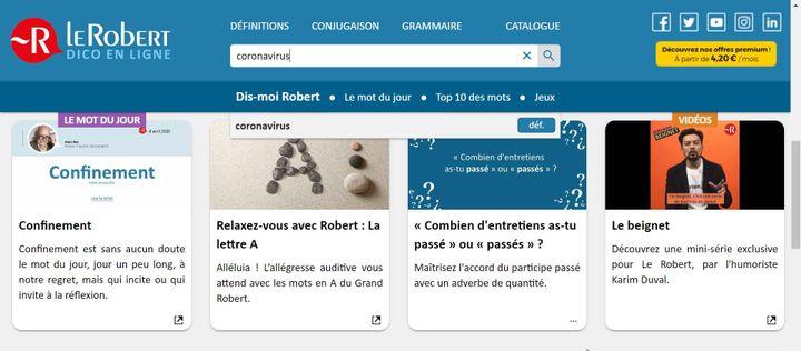 Le portail Le Robert Dico en lignelancé le16 avril 2020 (CAPTURE ECRAN Le Robert)