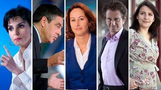 Rachida Dati (UMP), François Fillon (UMP), Ségolène Royal (PS), Jack Lang (PS) et Cécile Duflot (EELV). Cinq personnalités dont les candidatures suscitent quelques grincements dans les circonscriptions concernées. (AFP PHOTO / MONTAGE FTVI)