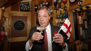 Nigel Farage boit une bière avec undrapeau de l'Angleterre, le jour de la Saint-George, le 23 avril 2015. (SUZANNE PLUNKETT / REUTERS)