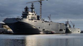 """Le """"Sébastopol"""" est l'un des deux navires Mistral vendus par la France à la Russie. (JEAN-SEBASTIEN EVRARD / AFP)"""