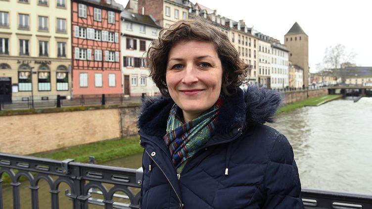 La candidate écologiste,Jeanne Barseghian, à Strasbourg, en mars 2020. (FREDERICK FLORIN / AFP)