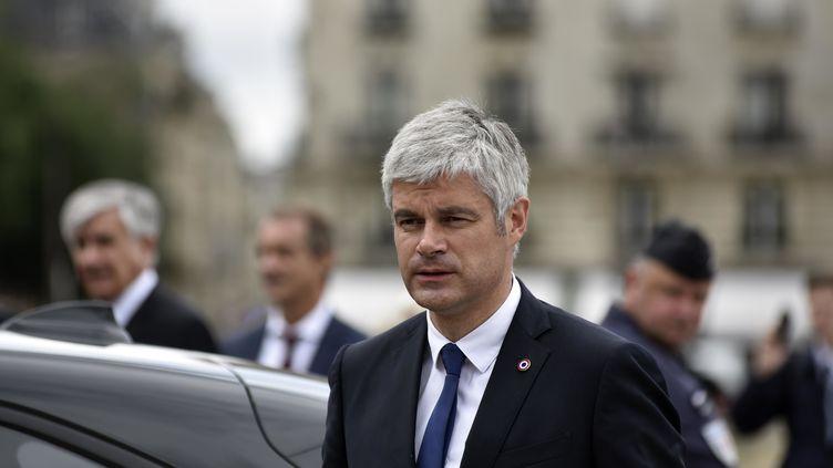 Laurent Wauquiez assiste aux funérailles de Serge Dassault, à Paris le 1er juin 2018. (AVENIR PICTURES / CROWDSPARK / AFP)