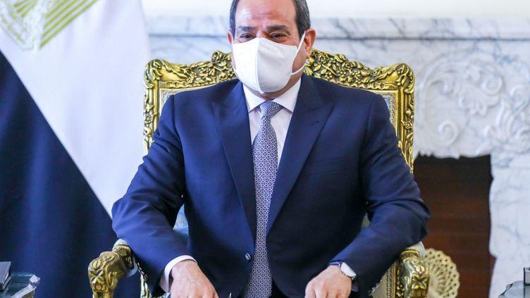 Le président égyptienAbdel Fattah Al-Sisi au Caire, en Egypte, le 12 avril 2021. (RUSSIAN FOREIGN MINISTRY / AFP)