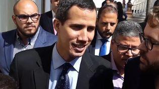 Juan Guaido, chef de file de l'opposition au président duVenezuela, ici au Parlement, à Caracas le 29 janvier 2019. (FRANCEINFO / RADIOFRANCE)