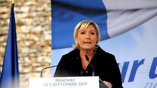Marine Le Pen à Brachay (Haute-Marne), le 9 septembre 2017. (FRANCOIS NASCIMBENI / AFP)