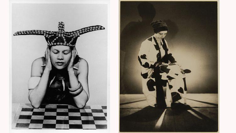 A droite : La mode au Congo1937-1980 (Milan, collection particulière, Fondazione Marconi) et à gauche,Elsa Schiaparellivers 1933 (Marseille, musée Cantini) (MAN RAY 2015 TRUST / ADAGP, PARIS 2019)