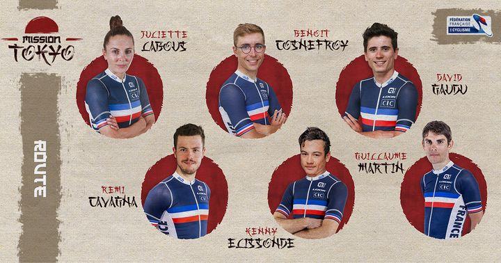 Sélection de l'équipe de France de cyclisme sur route pour les Jeux olympiques de Tokyo. (FFC)