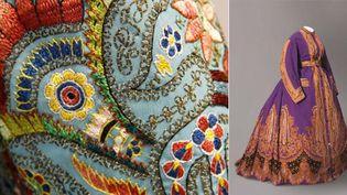 """A gauche, détail de """"Visite"""" de la princesse Mathilde, 1869 et à droite : robe d'intérieur imprimée vers 1865  (Musées et domaine nationaux du Palais de Compiègne, Marc Poirier)"""