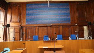 La salle d'audience du palais de justice de Vesoul, où se déroule le procès d'assises de Jonathann Daval, à partir du 16 novembre 2020. (MAXPPP)