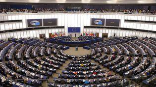 Une session plénière du Parlement européen, le 13 février 2020, à Strasbourg. (ALEXEY VITVITSKY / SPUTNIK / AFP)
