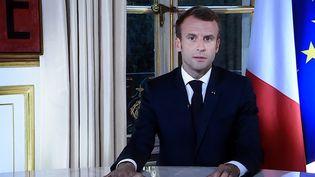 Le président de la République lors de son allocution télévisée, mardi 16 octobre. (ALEXANDRE MARCHI / MAXPPP)