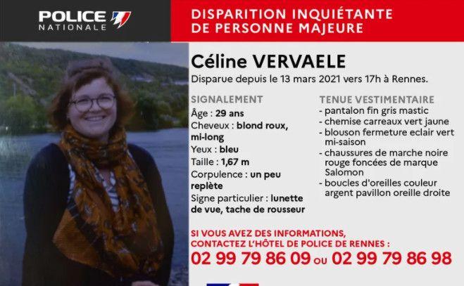 La police a lancé un appel à témoins pour retrouver Céline Vervaele. (POLICE NATIONALE DE RENNES)