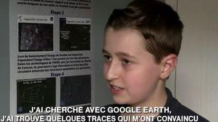 Capture d'écran d'une interview deWilliam Gandoury, jeune découvreur d'une cité maya, en mai 2016. (FRANCE 2)